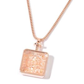 Simulated Diamond Pendant With Chain in Rose Gold Tone