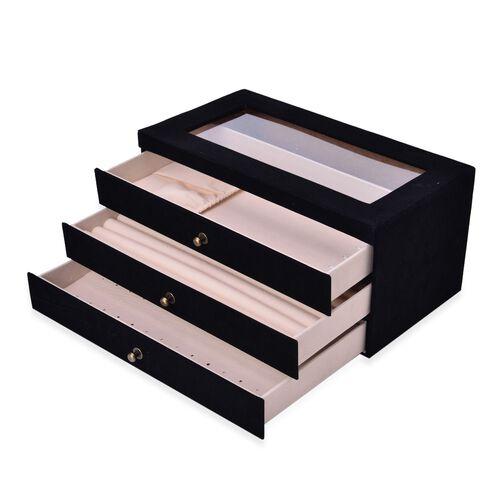 Black Colour 3 Draw Jewellery Box (Size 29x16x14 Cm)
