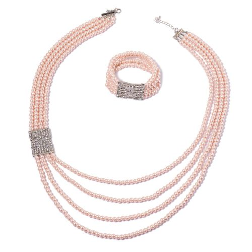 White Austrian Crystal and Peach Glass Pearl Necklace (Size 27 with 1 inch Extender) and Stretchable Bracelet (Size 7.50) in Silver Tone