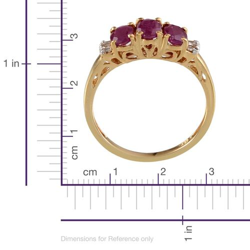 Burmese Ruby (Ovl), Diamond Ring in 14K Gold Overlay Sterling Silver 1.580 Ct.