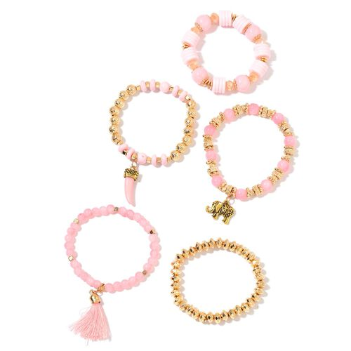 Set of 5 - Simulated Rose Quartz, Simulated Champagne Diamond and Golden Beads Stretchable Bracelet (Size 7) with Charms in Yellow Gold Tone