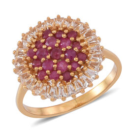 Burmese Ruby (Rnd), White Topaz Ring in 14K Gold Overlay Sterling Silver 2.750 Ct.