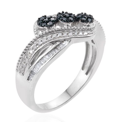 WEBEX- Blue Diamond (Rnd), White Diamond Ring in Platinum Overlay Sterling Silver 0.430 Ct.