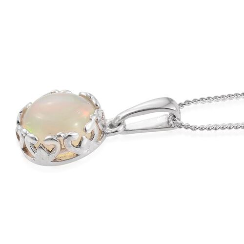 Ethiopian Welo Opal (Rnd) Solitaire Pendant with Chain in Platinum Overlay Sterling Silver 1.500 Ct.