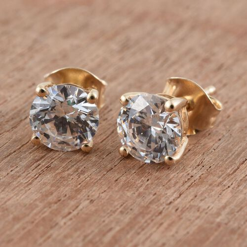 9K Yellow Gold Round Stud Earrings (with Push Back) Made with SWAROVSKI ZIRCONIA