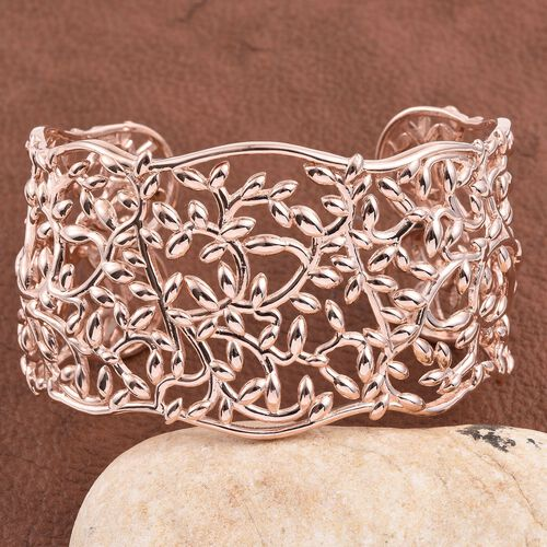 Rose Gold Overlay Sterling Silver Olive Leaves Cuff Bangle (Size 7.5), Silver wt 53.00 Gms.