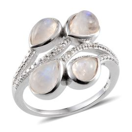 Rainbow Moonstone (Pear), Diamond Ring in Platinum Overlay Sterling Silver 4.270 Ct.