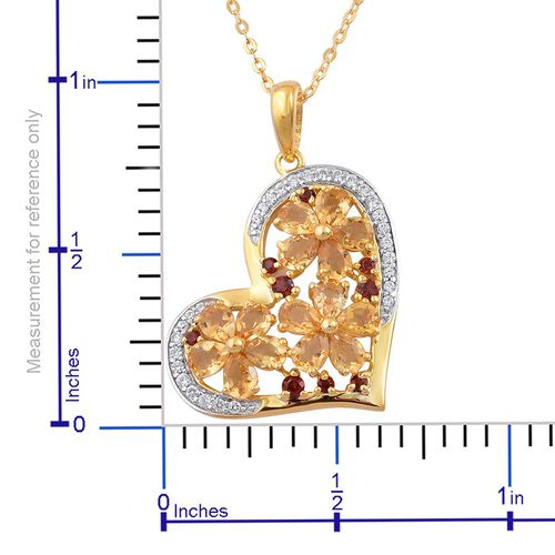 Citrine (Pear), Mozambique Garnet and White Zircon Heart Pendant With Chain in 14K Gold Overlay Sterling Silver 2.750 Ct.