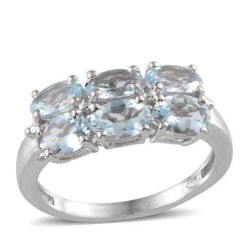 Espirito Santo Aquamarine (Ovl) Ring in Platinum Overlay Sterling Silver 2.000 Ct.