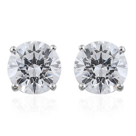 9K White Gold Round Stud Earrings Made with SWAROVSKI ZIRCONIA