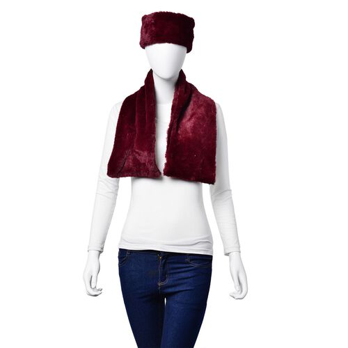 Set of 2 - Burgundy Colour Headband (Size 45x10 Cm) and Scarf (Size 90x15 Cm)