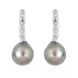 Tahitian Pearl (9-10mm), White Topaz Earrings (with Push Back) in Platinum Overlay Sterling Silver