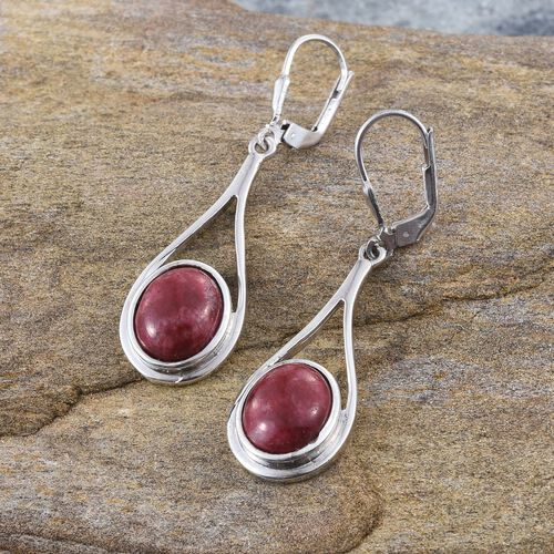 Norwegian Thulite (Ovl) Earrings in Platinum Overlay Sterling Silver 8.250 Ct.