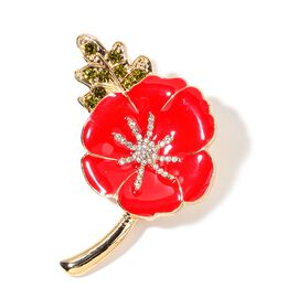 (Option 1) TJC Poppy Designs Green Austrian Crystal and White Austrian Crystal Floral Brooch in Gold Tone