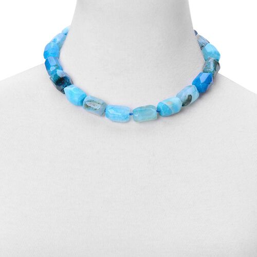 Blue Agate Necklace (Size 18 with 2 inch Extender) in Rhodium Plated Sterling Silver 623.300 Ct.