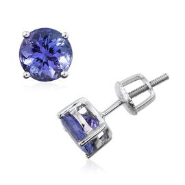 ILIANA 18K W Gold AAA Tanzanite (Rnd) Stud Earrings (with Screw Back) 2.000 Ct.