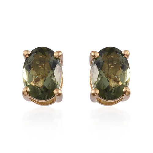 Bohemian Moldavite (Ovl) Stud Earrings (with Push Back) in 14K Gold Overlay Sterling Silver 1.000 Ct.