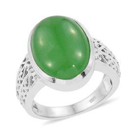 Green Jade (Ovl) Ring in Platinum Overlay Sterling Silver 14.000 Ct.