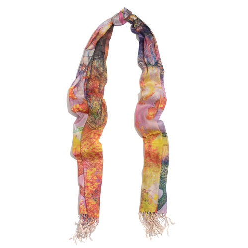 100% Modal Floral Digital Print Green and Multi Colour Scarf (Size 190x70 Cm) - Pink