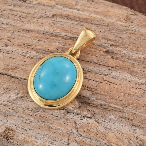 Arizona Blue Turquoise (Ovl) Solitaire Pendant in 14K Gold Overlay Sterling Silver 2.750 Ct.