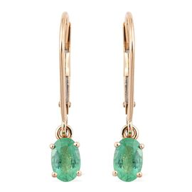 ILIANA 18K Y Gold Boyaca Colombian Emerald (Ovl) Lever Back Earrings 0.850 Ct.