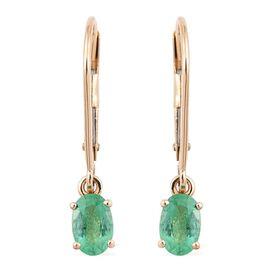 ILIANA 18K Y Gold Boyaca Colombian Emerald (Ovl) Lever Back Earrings 0.850 Ct.