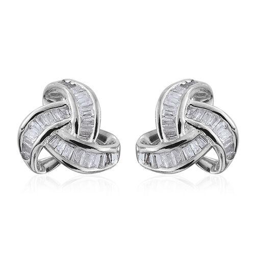 9K W Gold Diamond (Bgt) Triple Knot Stud Earrings (with Push Back) 0.250 Ct.