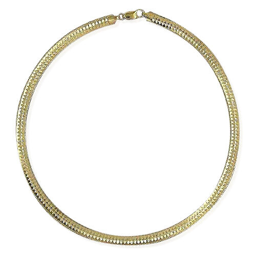 Close Out Deal Yellow Gold Overlay Sterling Silver Flat Omega Necklace (Size 16), Silver wt 25.09 Gms.