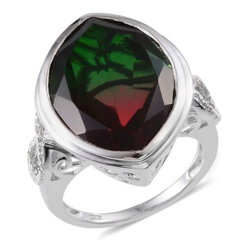 Tourmaline Colour Quartz (Mrq 15.00 Ct), Diamond Ring in Platinum Overlay Sterling Silver 15.030 Ct.