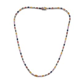 Amits Special Deal - Multi Colour Sapphire (Ovl), White Topaz Necklace (Size 18) in Platinum Overlay Sterling Silver 16.500 Ct.