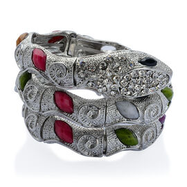 White Austrian Crystal and Multi Colour Simulated Stone Snake Bracelet (Size 7.5) in Silver Tone