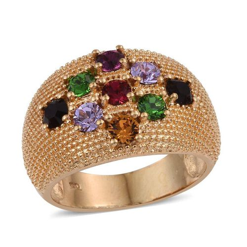 Crystal from Swarovski - Amethyst Colour Crystal (Rnd), Topaz Colour Crystal, Fern Green Crystal, Violet Crystal, Garnet Colour Crystal and Ruby Colour Crystal Ring in ION Plated 18K Yellow Gold Bond