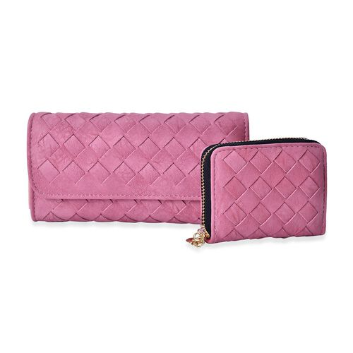 Celina Classic Pink Intrecciato Textured Wallet And Cardholder Set (Size 19x10x2.5 Cm and 10.5x8x2.5 Cm)