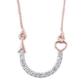 Natural Cambodian Zircon (Rnd) Arrow Necklace With Chain (Size 18) in Rose Gold Overlay Sterling Silver