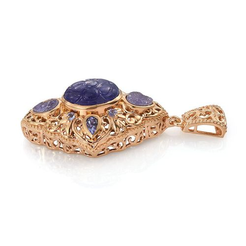Designer Inspired Tanzanite (Ovl 8.75 Ct), Burmese Ruby Pendant in 14K Gold Overlay Sterling Silver 11.500 Ct.