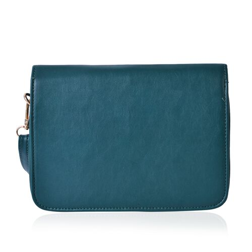 Teal Green Colour Crossbody Bag with Adjustable and Removable Shoulder Strap (Size 22.5x7x16 Cm)