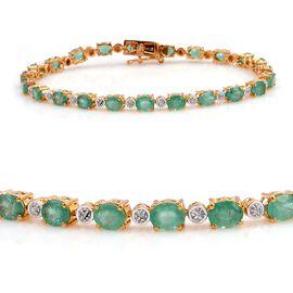 Kagem Zambian Emerald (Ovl), Diamond Bracelet (Size 7.5) in 14K Gold Overlay Sterling Silver 7.550 Ct.