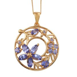 Tanzanite (Rnd) Floral Pendant With Chain in 14K Gold Overlay Sterling Silver 2.250 Ct.