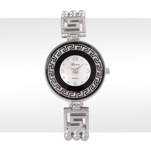 Limited Edition- Greek Key GENOA Japanese Movement White Dial with White Austrian Crystal Water Resistant Black Colour Watch in Silver Tone with Stainless Steel Back and Chain Strap