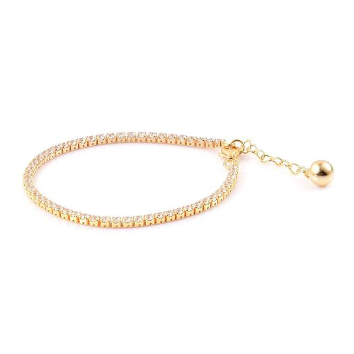 ELANZA AAA Simulated White Diamond Tennis Bracelet (Size 6 with 1 inch Extender) in Yellow Gold Overlay Sterling Silver