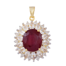 African Ruby (Ovl 10.50 Ct), White Topaz Pendant in 14K Gold Overlay Sterling Silver 15.000 Ct.