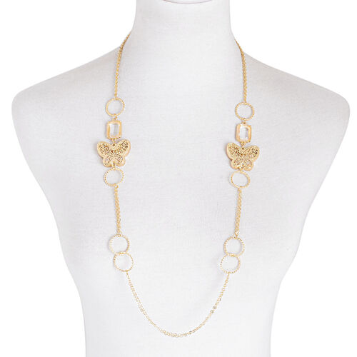 White Glass and White Austrian Crystal Necklace (Size 34) in Gold Tone