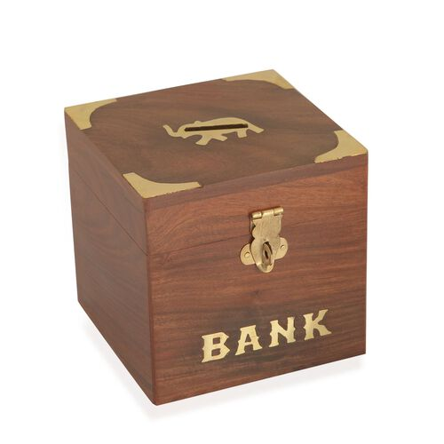 Wooden money box square shape with elephant b w size for Home money box
