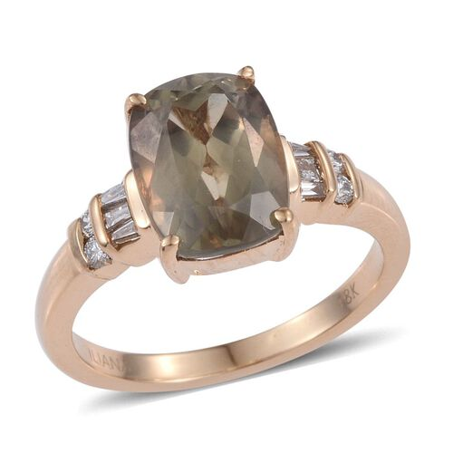 ILIANA 18K Y Gold Turkizite (Cush 4.55 Ct), Diamond Ring 4.750 Ct.