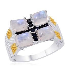 Designer Collection Rainbow Moonstone (Bgt), Kanchanaburi Blue Sapphire Ring in Platinum Overlay Sterling Silver 5.500 Ct.