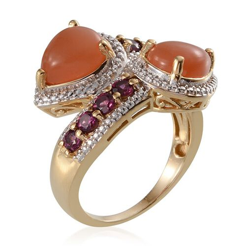 Mitiyagoda Peach Moonstone (Pear), Rhodolite Garnet Crossover Ring in 14K Gold Overlay Sterling Silver 3.750 Ct.