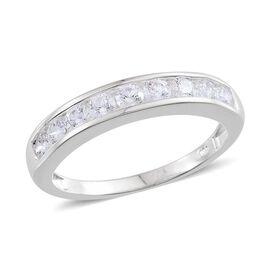 J Francis - Sterling Silver (Rnd) Half Eternity Band Ring Made with SWAROVSKI ZIRCONIA 0.990 Ct.