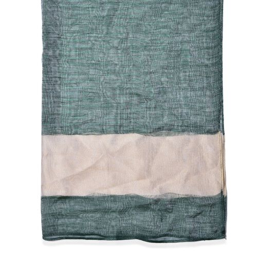 Green and Cream Colour Scarf (Size 180x70 Cm)