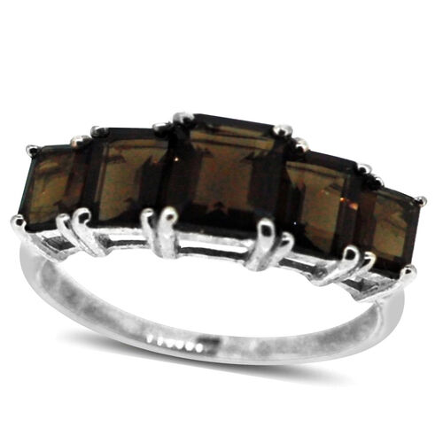 Brazilian Smoky Quartz (Oct 1.50 Ct) 5 Stone Ring in Sterling Silver 4.500 Ct.