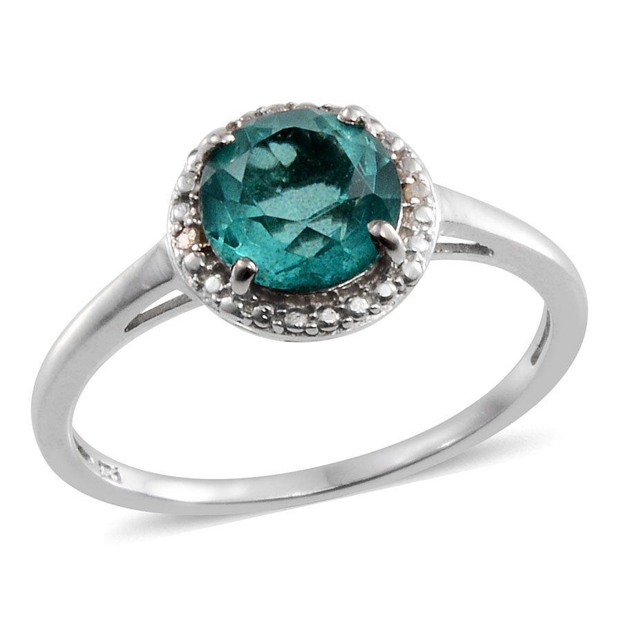 Paraiba Tourmaline Colour Quartz (rnd), Diamond Ring, Stud Earrings  (with Push